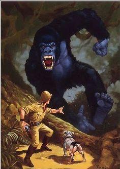 Pulp Fiction Art, Pulp Art, King Kong, Man Vs Nature, Frankenstein Art, Novel Movies, Horror Artwork, Vampires And Werewolves, Sword And Sorcery