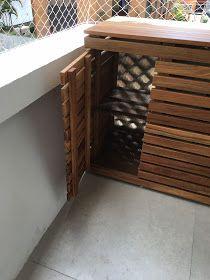 Atelier do Zero: Escondendo a condensadora de ar condicionado da varanda do apto da Heloisa Diy Radiator Cover, Air Conditioner Cover, Beach Shack, Diy Garden Decor, Radiators, Outdoor Furniture, Outdoor Decor, Wooden Boxes, Wall Galleries