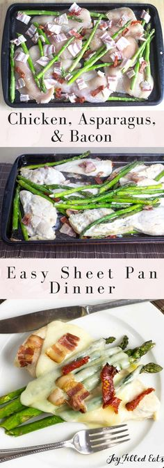 Easy Chicken & Asparagus Sheet Pan Dinner with Bacon & Sundried Tomatoes - Low Carb, Grain/Gluten Free, THM S via @joyfilledeats