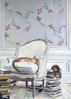 Chat - Dormir - Livre / Cat - Sleeping - Book - Tap the link now to see all of our cool cat collections! I Love Cats, Crazy Cats, Cute Cats, Adorable Kittens, Bulletins, Cat Drawing, Beautiful Paintings, Cats And Kittens, Funny Kittens
