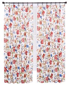 Ellis Curtain Cornwall Jacobean Floral Thermal Insulated Pinch Pleated Curtains, 144 by 84-Inch, Multicolor