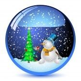 Christmas_eve : Illustration snow globe with a christmas tree and snowman within. Vector.