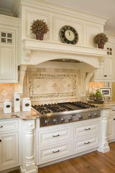 32 Best Antique White Kitchen Cabinets - Decor Home Ideas - 32 Best Antique White Kitchen Cabinets Antique White Kitchen With Art Stove - Kitchen Inspirations, Home Decor Kitchen, French Country Kitchens, French Country Kitchen, Kitchen Design, Country Kitchen Designs, Kitchen Remodel, Kitchen Renovation, Tuscan Kitchen
