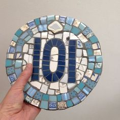 Mosaic House Number 101 in blues - Mosaic