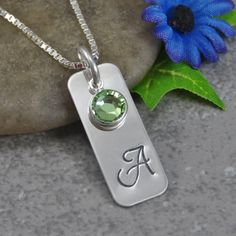 Hand Stamped Jewelry - Personalized Jewelry - Initial Necklace - Rectangle - Sterling Silver Necklace - Birthstone