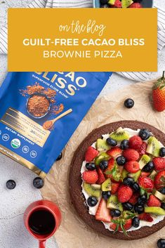 Two words: Brownie. Pizza. This wholesome dessert takes everything you love about brownies but served in a way that's fun and unexpected. Give the recipe a try! Healthy Chocolate, How To Make Chocolate, Brownie Pizza, Smart Snacks, Pizza Recipes, Superfood, Baked Goods, Brownies, Cravings