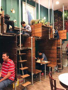 Space saving interior design of a restaurant Cool Restaurant Design, Decoration Restaurant, Deco Restaurant, Restaurant Ideas, Bangkok Restaurant, Restaurant Seating, Vintage Interior Design, Vintage Cafe Design, Coffee Shop Design