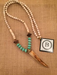 Betsy Pittard Cream and Turquoise Beads with a Brown Horn Necklace