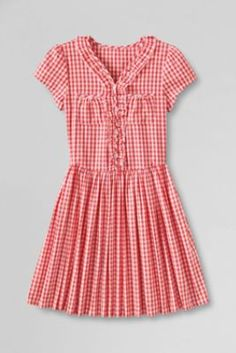 Girls' Plus Ruffle Front Pocket Dress from Lands' End