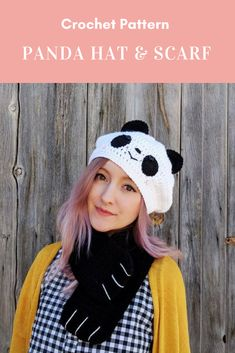 Very Cute CROCHET PATTERN for panda hat and panda scarf Affiliate Link #crohcetpattern #crochethatpattern #crochet #crochethat #crochetscarf #pandascarf #pandacrochet #pandahat Crochet Panda, Crochet Beanie, Cute Crochet, Knit Crochet, Crochet Hats, Crochet Blankets, Crochet Dinosaur Pattern Free, Crochet Patterns, Wearing A Hat