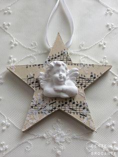 Dentelle & Brocante: petite étoile en bois, sa partition et son ange