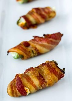 Bacon Wrapped Jalapeno Poppers on a White Plate Bacon Wrapped Jalepeno Poppers, Jalapeno Popper Recipes, Stuffed Jalapenos With Bacon, Chicken Cauliflower Casserole, Roasted Fennel, Bacon Avocado, Low Carb Veggies, Yummy Appetizers, Whole Food Recipes