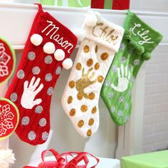 for class party - Monogrammed Memories Stockings - use dimensional fabric paint to create handprint and write name on stocking.