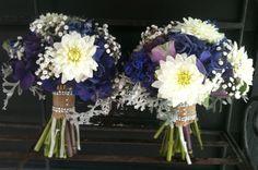 Renee's Bridesmaid Bouquets-purple hydrangeas, white Dahlias and Baby's Breath