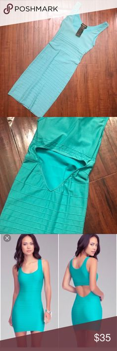 New Mint Green BEBE Bodycon Cutout Dress XXS XS S New w tags. Bebe Bodycon Dress. Light mint green. First pic shows color accurately. Size p/s. With tons of stretch to fit any body type. Can fit xxs XS and small best. Probably medium as well. Org $69. NO TRADES bebe Dresses