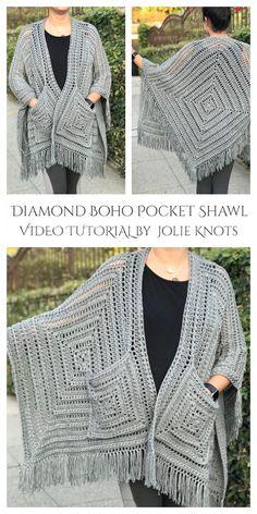 16 Reader's Pocket Wrap Shawl Free Crochet Patterns & Paid - DIY Magazine Crochet Wrap Pattern, Crochet Shawls And Wraps, Crochet Cardigan Pattern, Crochet Jacket, Crochet Scarves, Diy Crochet, Crochet Clothes, Free Crochet Shawl Patterns, Crochet Shrugs