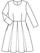 Burda 2012/11 [121] - Le buste est ajusté tandis que la jupe part en vagues dansantes grâce à des plis creux qui font bouffer le taffetas brillant. T36-44