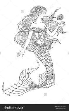 Hand Drawn Mermaid Holding A Flower On White Background Linen Vector Illustration For Coloring Book