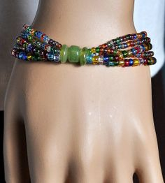 Rainbow  Transparent  Seed Bead  Multi Strand Stretch by bebsbeads, $14.00