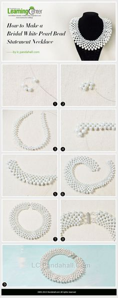 Bridal White Pearl Bead Statement Necklace by wanting