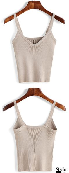 Making your outfit that much more eye-catching. Big Sale at $14.54! Apricot V Neck Ribbed Cami Top is upping her style quotient these days and we are totally here for it. See more amazing items at m.shein.com!