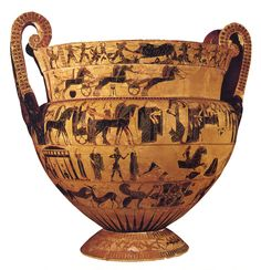 François Vase was discovered by François Alessendro in 1844 in the   Etruscan necropolis. Made by Ergotimos, painted by Kleitias, 570 BCE, Florence Museum.