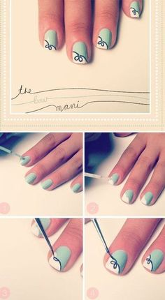 The Bow - use any 2 colors you fancy! More designs here: http://www.rewards4mom.com/10-fabulous-diy-nail-art-designs-try-2014/