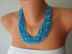 Turquoise Handcrochet Rope Necklace with silvery by ArtofAccessory, $25.00