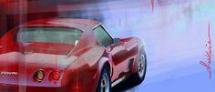 Rod Corvette / Digigraphie sur toile tendue sur châssis bois / format: 94x40 cm / série de 8 exemplaires signés, numérotés et avec certificat d'authenticité / www.digital-painting-fine-art.com