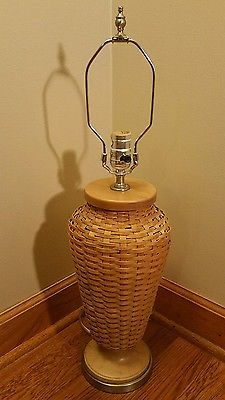 Longaberger Warm Brown Woven Basket Lamp Retired Hostess Exclusive RARE