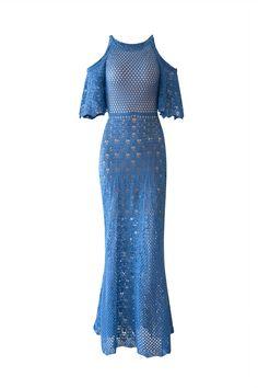 Vestido Tricot Madreperola Azul | Galeria Tricot - Galeria Tricot