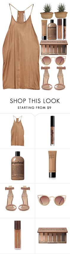 """Thinking About You"" by welcometofashionland ❤ liked on Polyvore featuring Vanessa Bruno, NYX, philosophy, Bobbi Brown Cosmetics, Gianvito Rossi, Quay, Becca and Urban Decay"