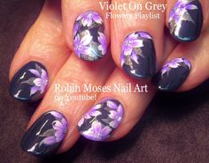 Nail Art | Purple and gray Flower Nails! | Floral Nail Design Tutorial