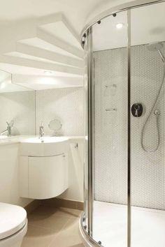 ideen kleine bäder eck-duschkabine kleiner waschtisch