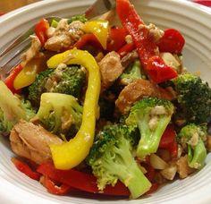 Stir fried capsicums, broccoli, tuna and silken tofu