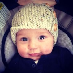 Baby Hat Handknitted Preppy with wooden buttons by BabyOzClothing