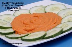 Healthy Snacking- Sun-dried tomato & roasted pepper hummus recipe- Seriously my kids just ate a whole bushel of broccoli with their hummus.