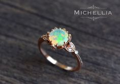 Vintage Opal Floral Engagement Ring with Diamond, Solid Gold Ethiopian Fire Opal Ring Set, Opal Promise Ring, Rose Gold Yellow White Gold by MichelliaDesigns on Etsy https://www.etsy.com/listing/277239934/vintage-opal-floral-engagement-ring-with