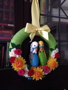 Budgie wreath made from felt - hand sewn