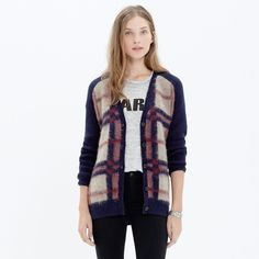 MADEWELL BRUSHED PLAID CARDIGAN $110 Boyfriend Cardi XS Mohair Wool Sweater Knit #Madewell #Cardigan