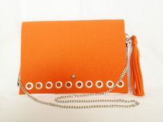 GlamFelt clutch bag with chain and key ring  orange http://totostyle.pl/