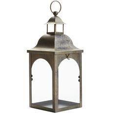 Brighten your dark patio or add mood to your family room with our hand-painted lantern with a bell top. Made of rust-resistant iron, it rests on a table or hangs easily. Add your favorite 3x4 candle and enjoy the evening.