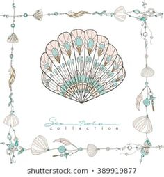 Illustration of Sea boho collection. Cards in boho style. Sea shells on rope and sea shell. vector art, clipart and stock vectors. Vector Art, Sea Shells, Illustration, Boho Fashion, Clip Art, Stock Photos, Creative, Cards, Inspiration