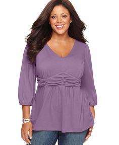 6fc8ea1f0457cb Ny Collection Plus Size Three-Quarter-Sleeve Ruched Empire-Waist Top Plus  Fashion