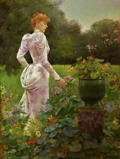 "1892, ""In the Flowers"" by Louise Abbema - oil on canvas"