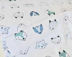 Jersey Knit Fabric, Furries Cool in Knit, CAPSULES - Pine Lullaby Collection by AGF Studio, Jersey Fabric, 4 way Stretch Jersey Knit Fabric Woodland Critters, Woodland Animals, Fabric Yarn, Knitted Fabric, Knit Art, 4 Way Stretch Fabric, Art Gallery Fabrics, How To Make Tshirts, Cool Tones