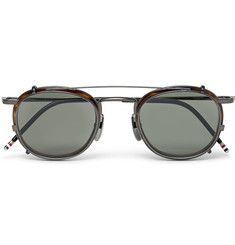 dacd6756a8 Thom Browne Round-Frame Tortoiseshell Acetate Optical Glasses With Clip-On  UV Lenses Round