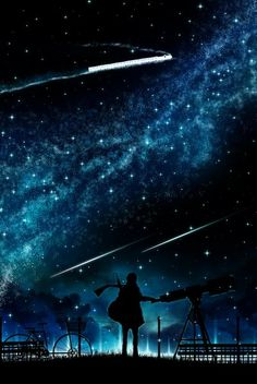 Anime picture 1478x2207 with original harada miyuki single tall image sky cloud (clouds) standing night smoke outdoors silhouette shooting star milky way male star (stars) scarf umbrella grass power lines train