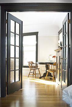 white walls black trim classy