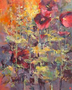 """Joan Fullerton Paintings: Contemporary Abstract Botanical Floral Painting """"Glorious Summer"""" by Intuitive Artist Joan Fullerton Abstract Landscape Painting, Landscape Art, Landscape Paintings, Floral Paintings, Abstract Art, Art Floral, Original Paintings, Original Art, Oil Painting Texture"""